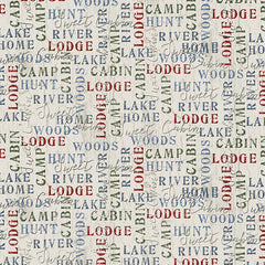 Twilight Lake Word Print Lt Gray Fabric (1687-44)