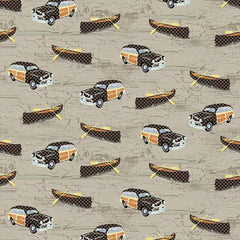 Twilight Lake Canoes and Cars Fabric  (1693-33)