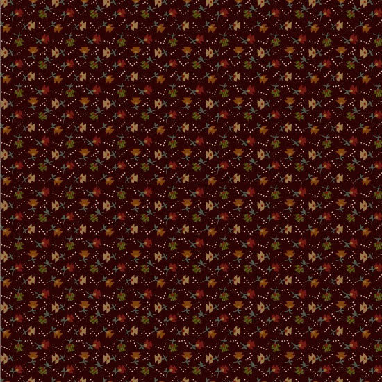 Pumpkin Farm Calico Flowers Brown 2056-58