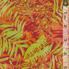Orange Leafy Green Batik