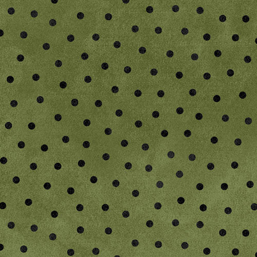 Woolies Flannel Black Dots on Olive MASF18506-G
