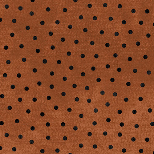 Woolies Flannel Black Dots on Burnt Orange MASF18506-O