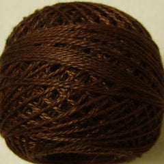 Valdani Pearl Cotton Size 12 Thread Solid Red Brown Dark