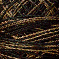 Valdani Pearl Cotton Size 12 Thread Variegated Black Nut