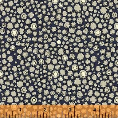 Fantasy Floral Flower Buttons Navy Fabric (51291-1)