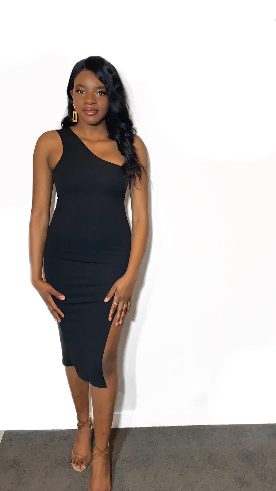 One Shoulder Slit Dress - ferox-boutique -