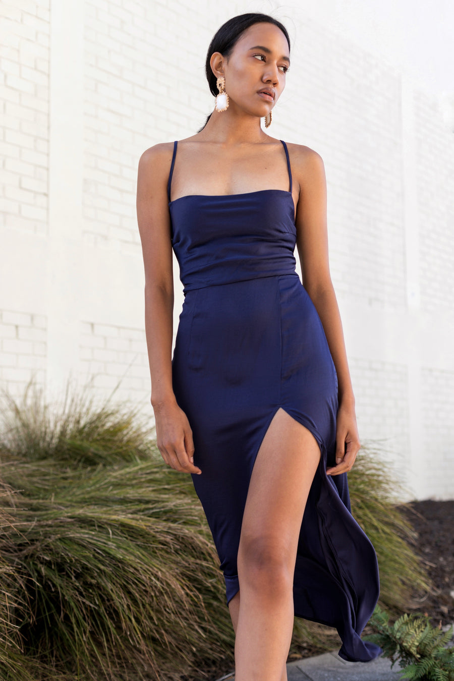 Love Your Body In Blue Cowl Dress