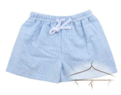 Seersucker shorts for boys with drawstring