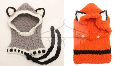 Knit hood in fox and wolf styles