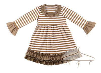 Stripe Long Sleeve Lap w/Solid Ruffle