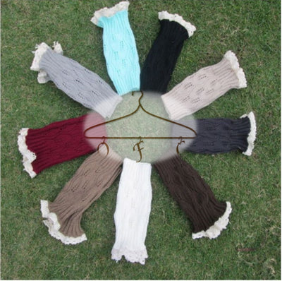 Knit boot cuffs in various colors