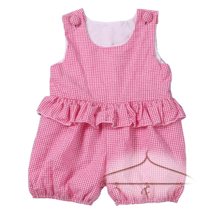 Girls Seersucker Ruffle Romper