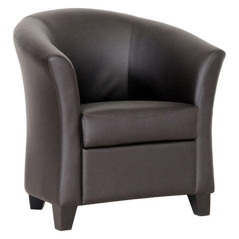 Anderson Club Chair - Dark Brown, Barrel Back