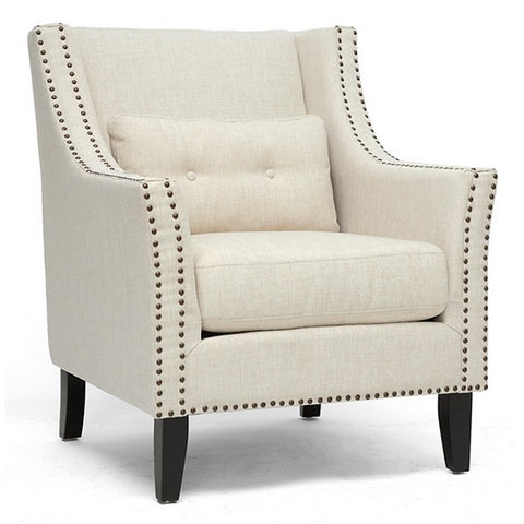 Albany Lounge Chair - Nail Heads, Kidney Pillow, Beige