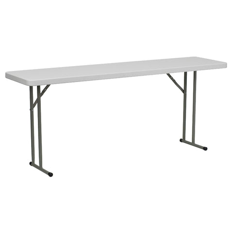 "18"" x 72"" Rectangular Folding Table - Granite Plastic, White"