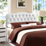 Annabel Leatherette Headboard - Button Tufted, White