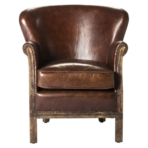 Abbey Leather Club Chair - Brown