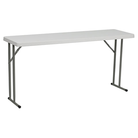 "18"" x 60"" Granite Plastic Folding Table - White"