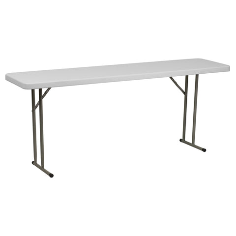 "18"" x 72"" Granite Folding Table - Plastic, White"