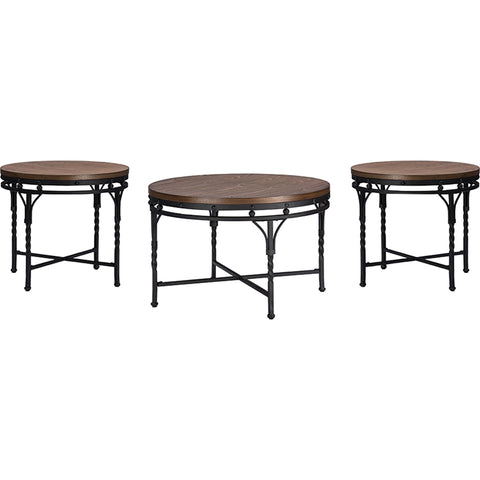 Austin 3-Piece Occasional Table Set - Brown, Antique Bronze