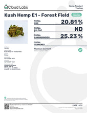 Load image into Gallery viewer, Kush Hemp E1 Cannabinoid Lab Result