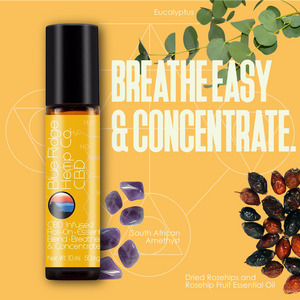 CBD Infused Roll-On Essential Oil Blend Breathe Easy & Concentrate 10ml 50mg CBD