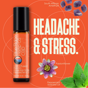 CBD Infused Roll-On Essential Oil Blend Headache & Stress 10ml 50mg CBD