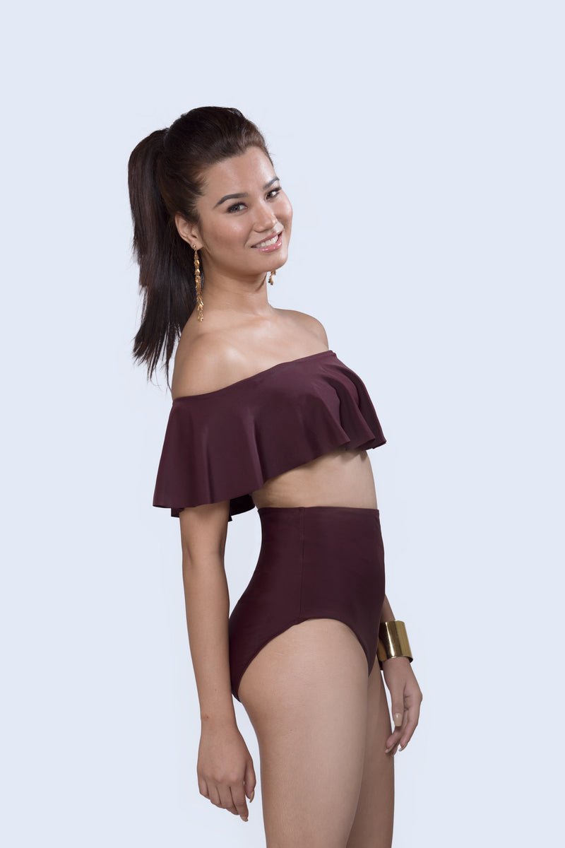 Wine Rebel Off Shoulder Bikini With High Waisted Bottom