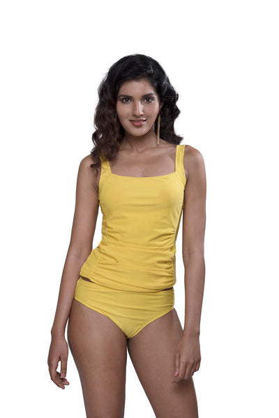 Bright Yellow Ruched Tankini