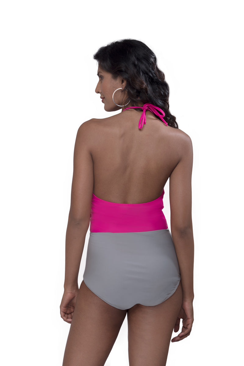 Fuschia Gray Halter Neck Swimsuit
