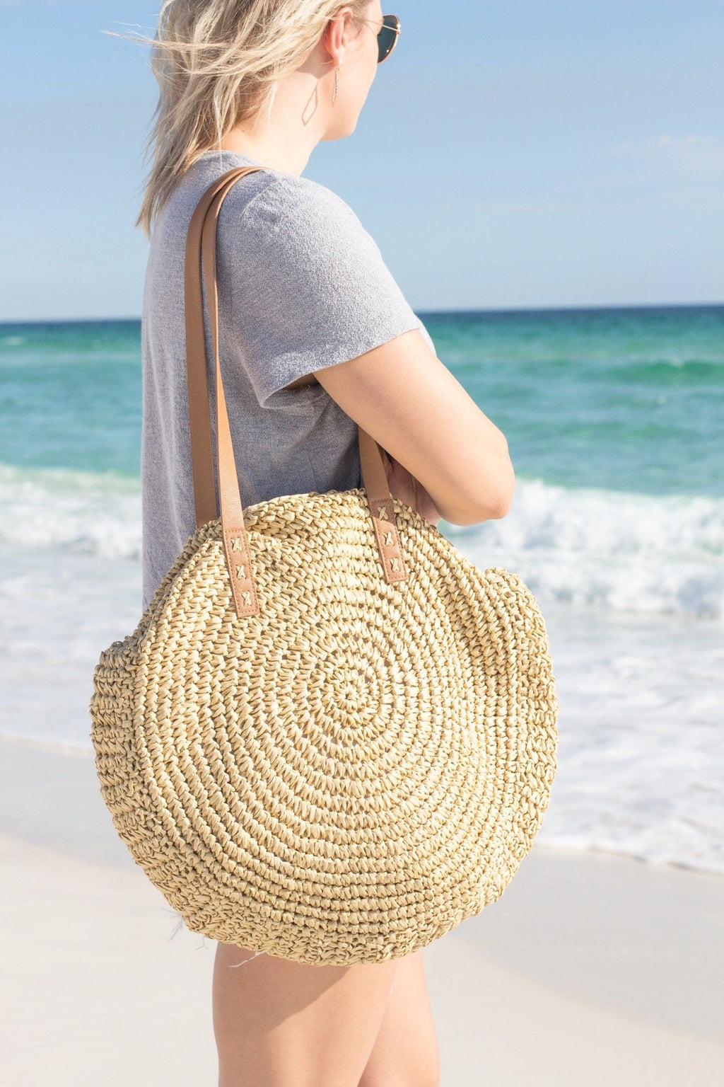 Raffia Round Beach Bag