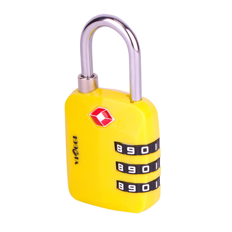 3 Dial TSA Approved Luggage Re-settable Combination Number Lock - Yellow
