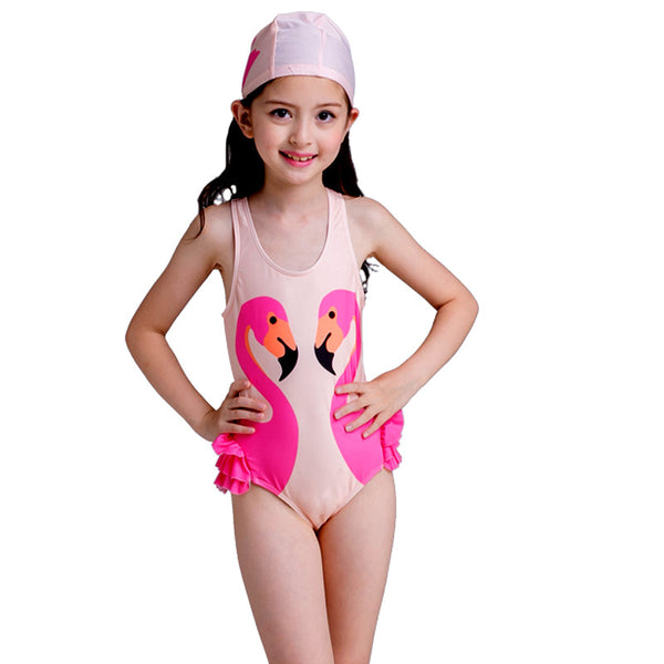 Flamingo Frill Swimsuit With Swim Cap