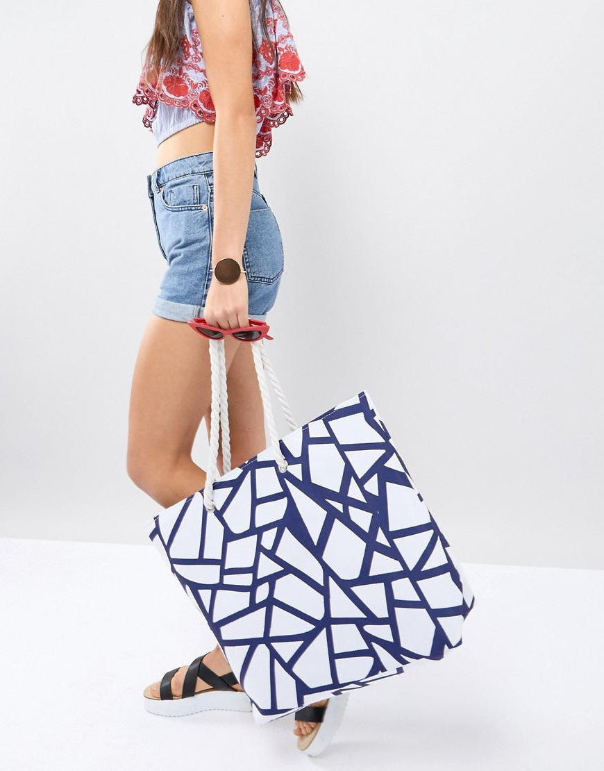 Geo Pattern Beach Tote Bag