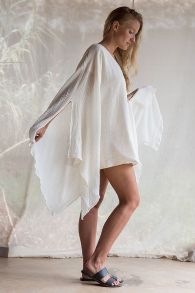 Flow Top In Off White Muslin Cotton