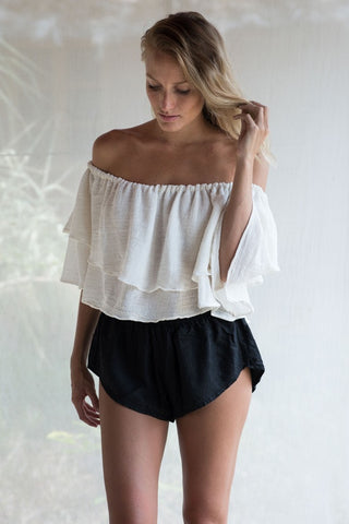 Layered Petal Top In Off White Cotton Muslin