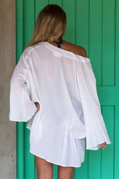 Kaftan In Dotted White Cotton