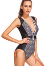 Vintage Front Zipper Printed Swimsuit (XS Only)