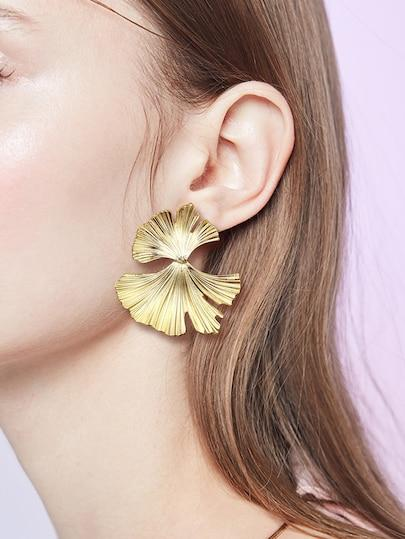 Ginkgo Biloba Leaf Shape Drop Earrings