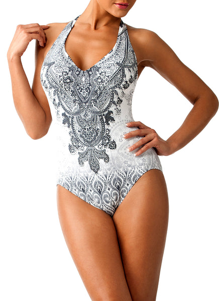 Charcoal Paisley Swimsuit By Charmante