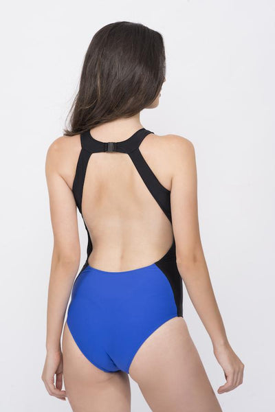 KAI Black Blue Colour Block Classic Swimsuit