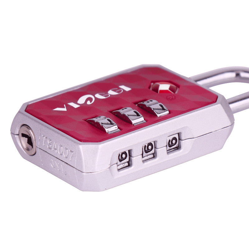 3 Dial TSA-Approved Luggage Re-settable Combination Number Padlock for Bag - Maroon