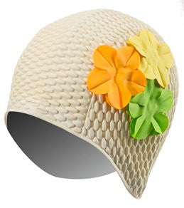 Floral Bubble Swim Cap (Cream)
