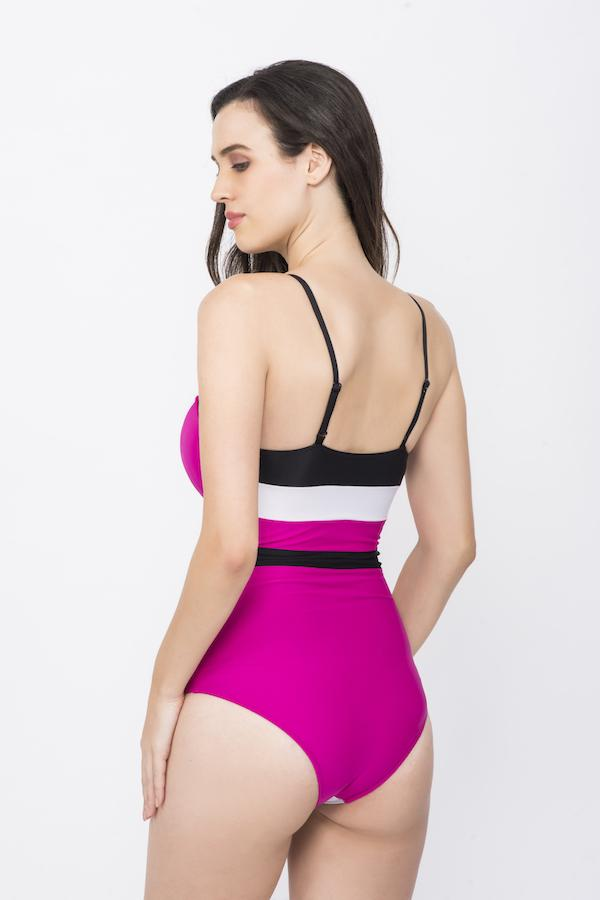 KAI WRAP OVERLAP COLOR BLOCK SWIMSUIT