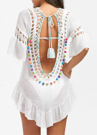 Hollow Out Tassel Beach Cover Up