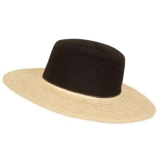Two Tone Black Straw Boater