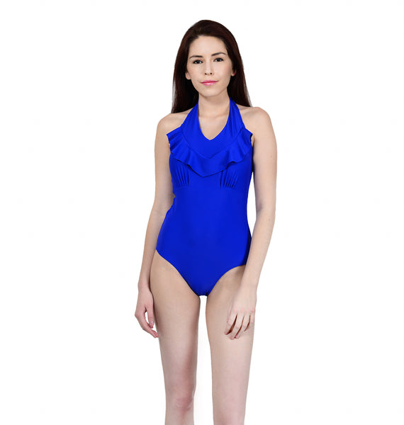 Blue Ruffle Swimsuit