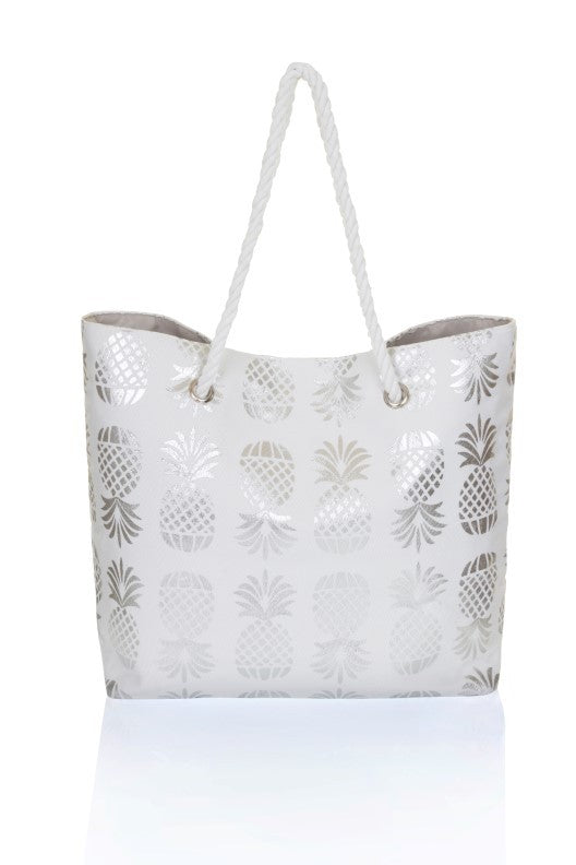 Metallic Pineapple Print Beach Bag
