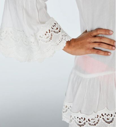 Lace Trim Off Shoulder Tunic