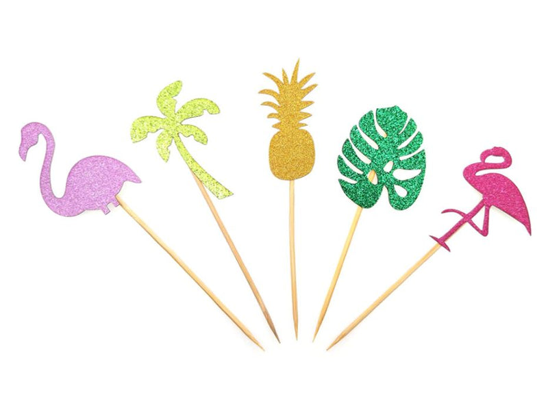 Glitter Tropical Cupcake Toppers